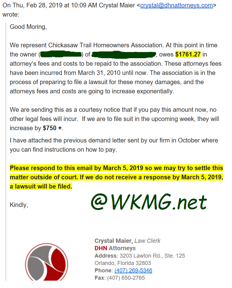 A Threaten Email From Crystal Maier DHN Attorneys, A Law